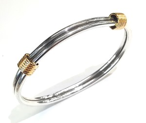 Tiffany & Co. Beautiful Vintage 14K Yellow Gold & Sterling Bangle Bracelet