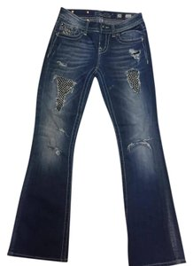 Miss Me Rhinestone Western Distressed Boot Cut Jeans-Distressed