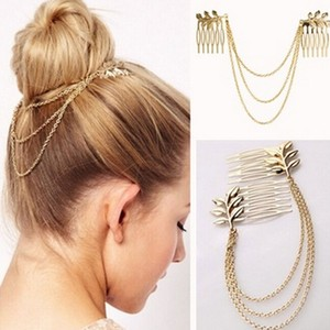 Chained Gold Hair Combs Free Shipping