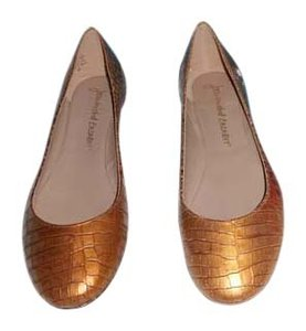 Jean-Michel Cazabat Design Crocodile Embossed Gold Flats