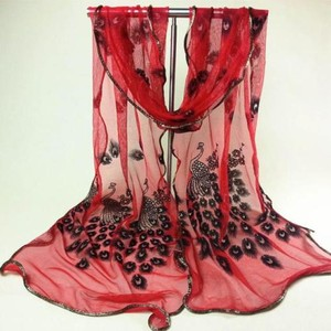 Fancy Red Sequin Peacock Scarf Wrap Shawl Free Shipping Dress