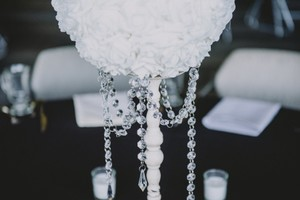 White Rose 12-inch Foam Balls With Crystals Attached And Stand