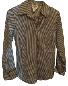 Talbots Petites Stretch / tailored fit Button Down Shirt black/ white striped