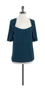 Marc by Marc Jacobs Striped Cotton T Shirt Teal & Navy