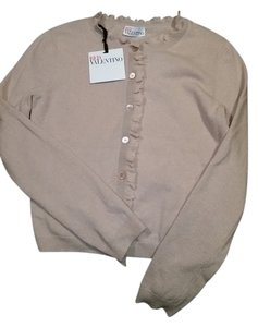 RED Valentino Pink Sweater Ruffle Button Down Cardigan