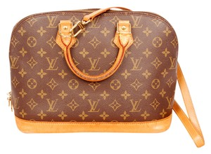 Louis Vuitton Monogram Strap Alma Canvas Satchel in Brown