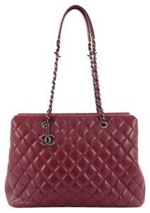 Chanel Leather Tote in Dark Red