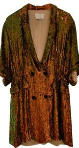 3.1 Phillip Lim Sequin Gold Embellished Metallic Silk Dress
