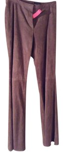 Rena Lange Leather Suede Boot Cut Pants Brown
