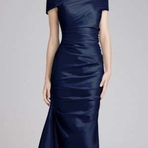 Teri Jon Navy Stretch Taffeta Rouched Dress Dress