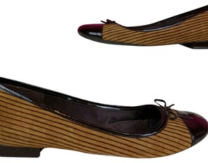 Enzo Angiolini Suede Striped Brown, Tan Flats