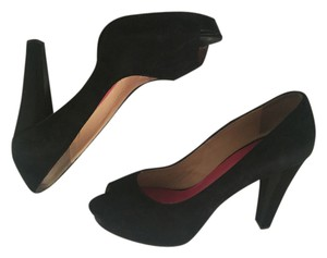 Kate Spade Peep Toe Open Toe Satin Platform Suede Black Pumps