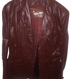 Etienne Aigner Burgundy Leather Jacket