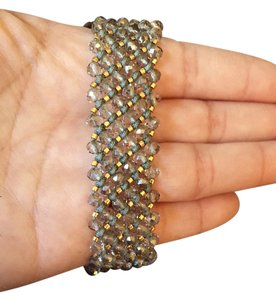 Chan Luu Silver Gray Crystals & Gold Bead Bracelet