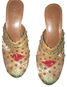 Liz Claiborne Earth colors fabric Mules