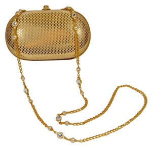 St. John Evening Crystal Pearl Gold Clutch