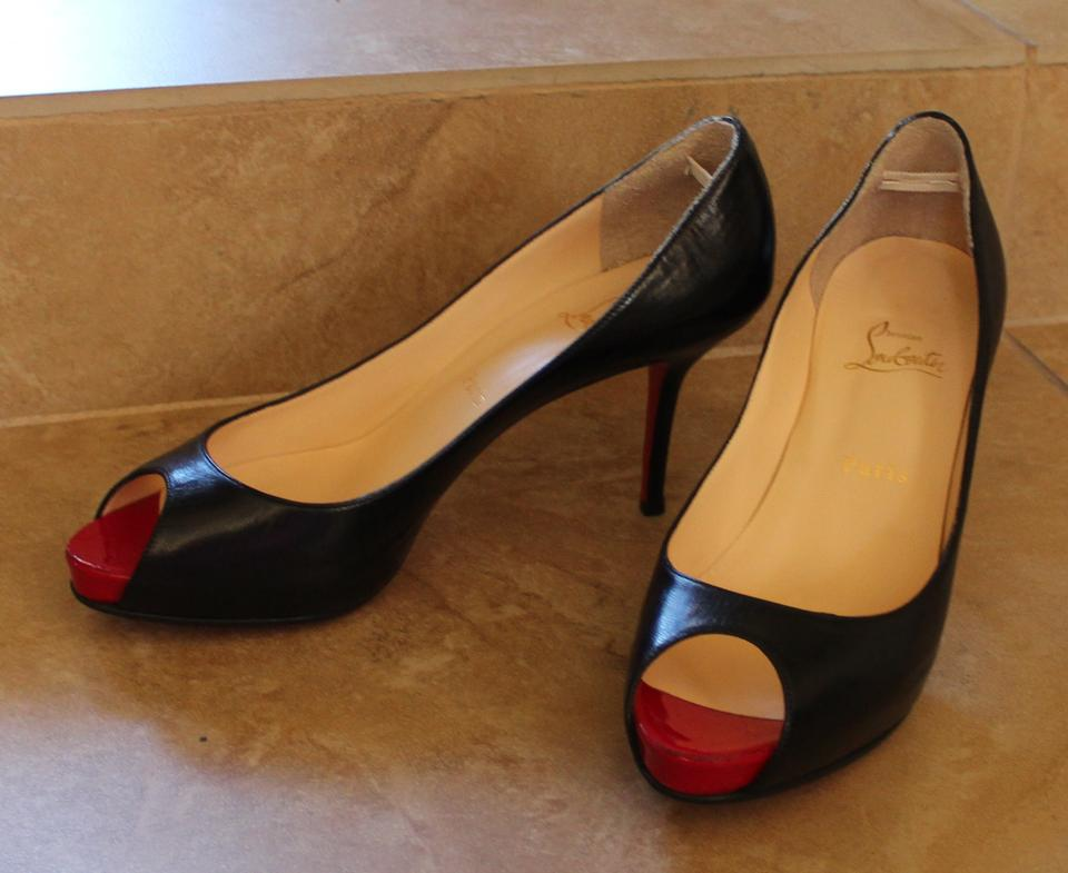 07cda6e07fb Christian Louboutin Black Leather Mater Claude 85 Open-toe Mid-heel Pumps  Size US 9.5 Regular (M, B)