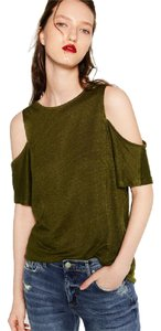 Zara Cut-out Open Shoulder Top Green