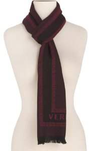 Versace GIANNI VERSACE 100% Wool In and Out Squares Red/ Black Scarf
