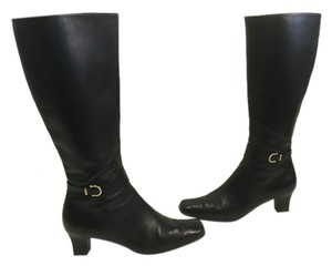 Salvatore Ferragamo Square Toe Black leather w gorgoeus leather lining Italian knee Boots