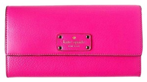 Kate Spade NEW!!! Tags Hot Pink Zip Leather Wallet Clutch Bag
