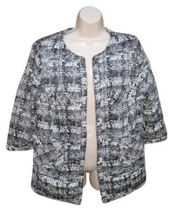 Eshakti Tweed 3/4 Sleeve Custom Open Front Black Ivory Jacket