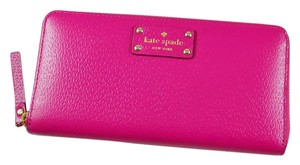 Kate Spade NEW!!! Tags Hot Pink Zip Around Continental Leather Wallet Clutch Bag
