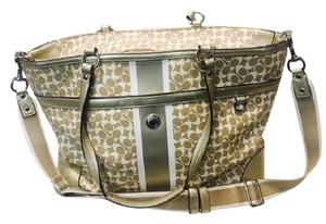 Coach Overnight Diaper Leather Laptop Tote in Gold and Cream