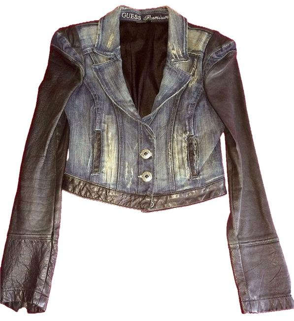 Guess Rocker Jeanjacket Leather Moto Blue and black Jacket