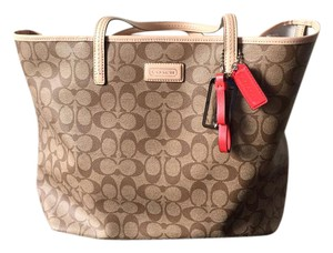 Coach Canvas Leather Coated Canvas Tote in Tan
