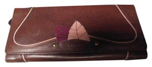 Céline Celine burgundy leather foldover wallet with leaves