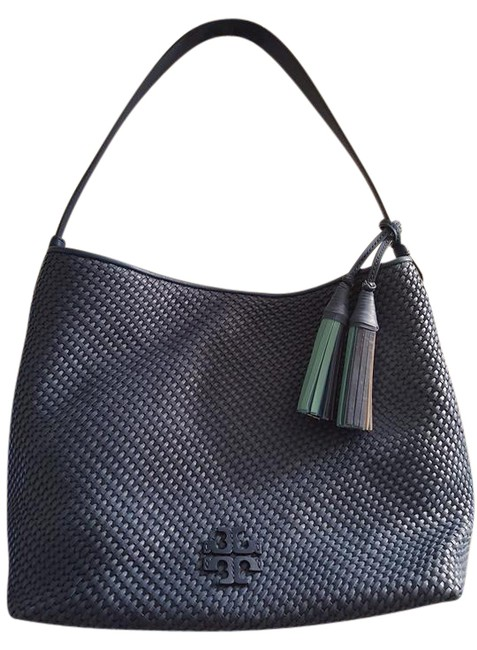 Item - Thea Woven Blue Leather Hobo Bag
