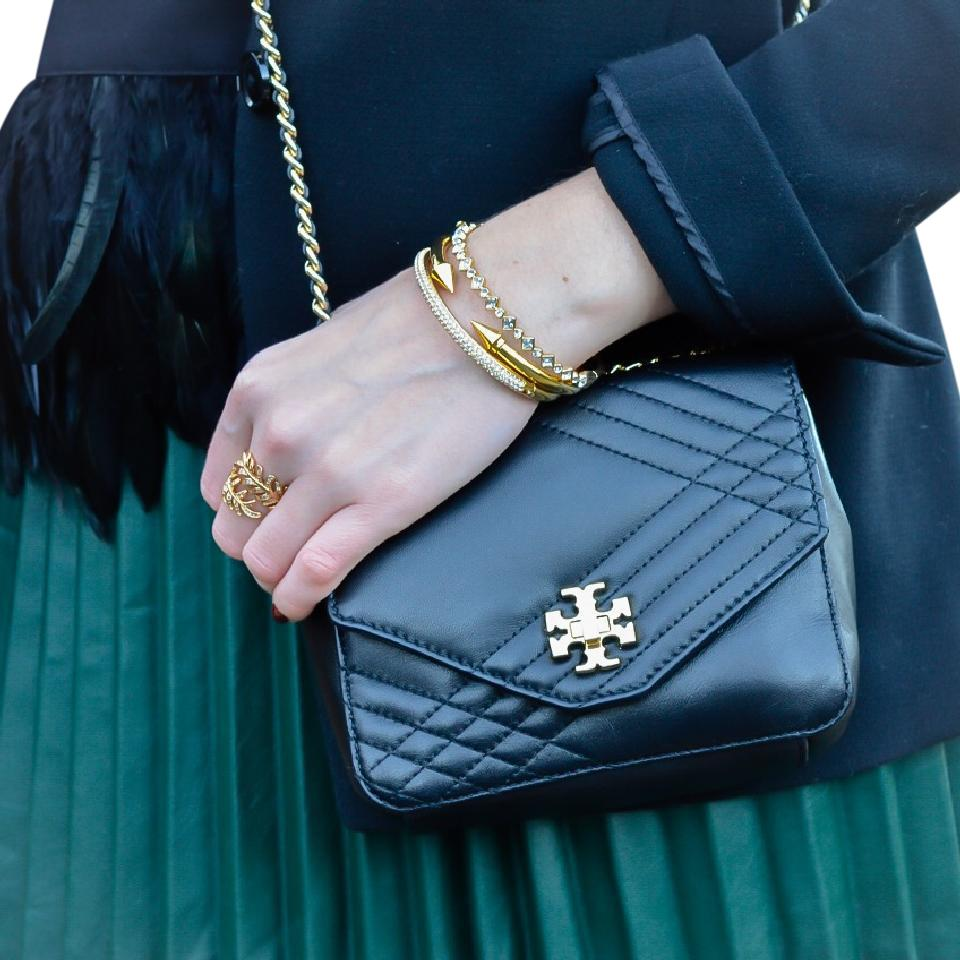 Tory Burch Kira Mini Gold Chain Quilted Black Leather