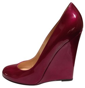 Christian Louboutin Pigalle 120 Ron Ron Zeppa Cranberry Metal Wedges