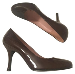 Delman Patent Leather Patent Round Toe Brown Pumps