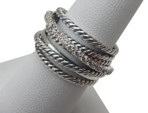 David Yurman Crossover Wide Ring With Diamonds - size 8