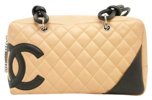 Chanel Reporter Cambon Rue Quilted Satchel in beige