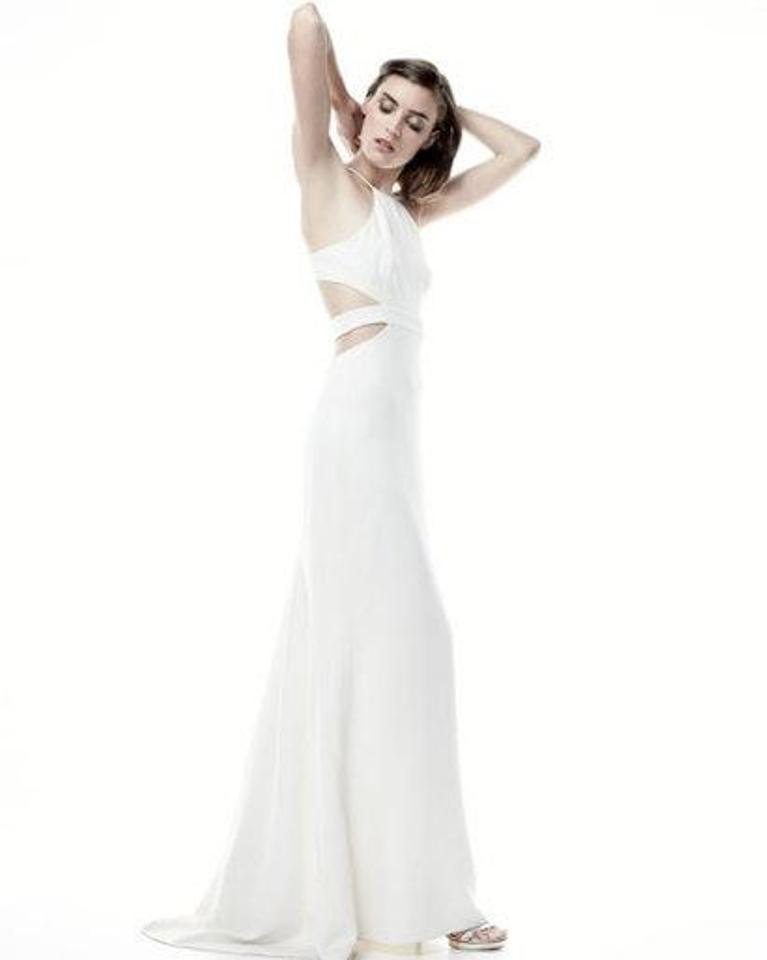 Halston Heritage Halter Gown With Back Cutouts Ivory Formal Dress