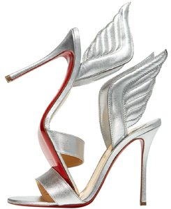 Christian Louboutin Wing Samotresse Heels Silver Sandals