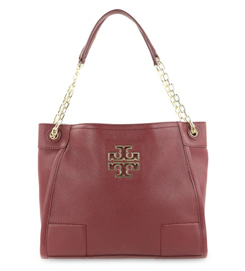 fc2b4e7cde0 Tory Burch Britten Small Slouchy Raspberry Red Leather Tote - Tradesy