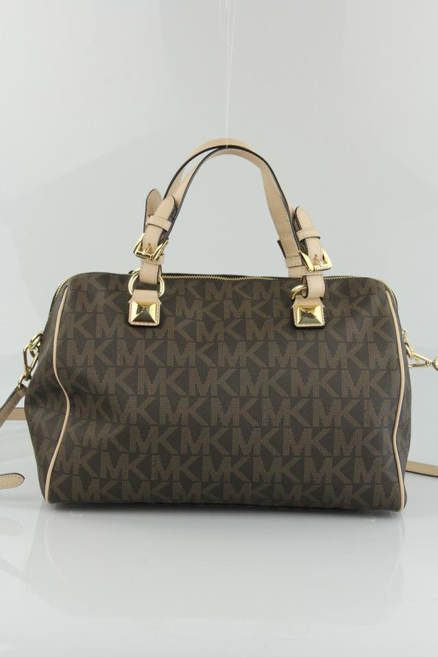 19bd3bd5ef36 Michael Kors Large Grayson Monogram Canvas Satchel - Tradesy ...
