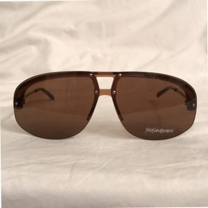 Saint Laurent NEW! Brown/Silver Aviator Unisex