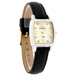 Armitron Armitron Now Quartz Ladies Mop Crystal Black Leather Watch 75/3818TT