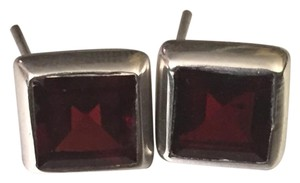 Garnet and sterling silver square stud pierced earrings