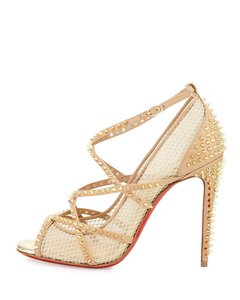 Christian Louboutin Heels Alarc Spike Studded Nude Sandals