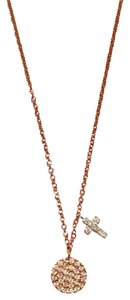 Meira T Meira T Rose Gold Disc & Diamond Cross Pendant Necklace