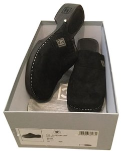 Chanel Suede Logo Black Mules