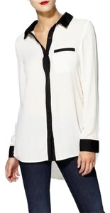 Free People Button Down Shirt Black and White