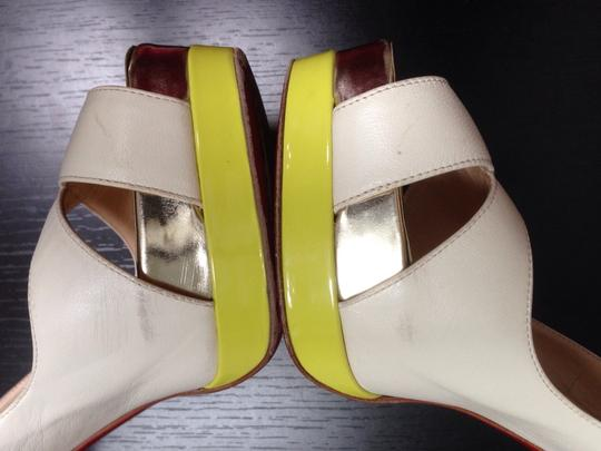 Christian Louboutin Very Prive Daffodile Pigalle Sex In The City Lady Peep Ivory, Yellow, Gold Sandals