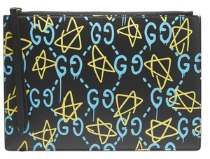 Gucci Printed Gg New Ghost Special Edition Black Clutch